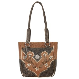 American West Leather Shoulder Bag Multi Compartment Organizer Tote Desert Flowe G.TanChrclCr