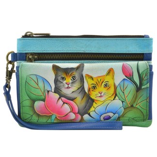 Anna by Anuschka Ladies Wallet  Wristlet Org Two Cats