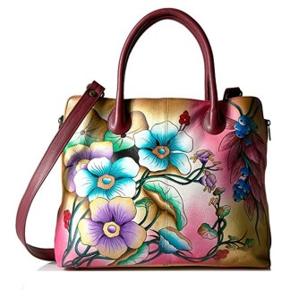 Anna By Anuschka Tote Handbag  Lg Expandable Floral Berries Wine