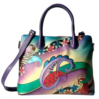 Anna By Anuschka Tote Handbag  Lg Expandable Paisley Collage Eggplant