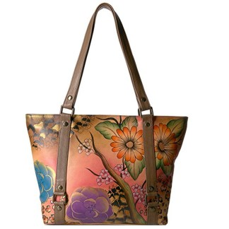 Anna By Anuschka Tote Handbag  Lg Belted Floral Safari Bloom