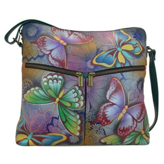 Anna By Anuschka Hobo Handbag Flap Top Butterfly Paradise