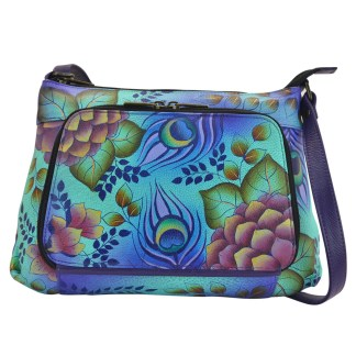 Anna by Anuschka Travel Organizer Crossbody Handbag Twin Zip Pck Peacock Garden