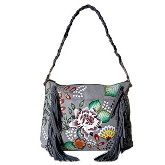 Anna By Anuschka Hobo Handbag  Fringed Garden of Eaden