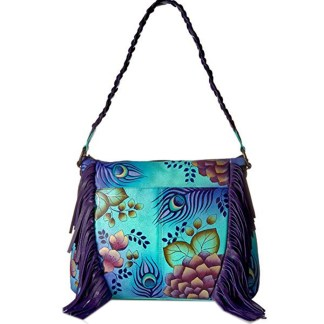 Anna By Anuschka Hobo Handbag  Fringed Peacock Garden