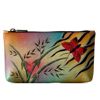 Anna by Anuschka Ladies Wallet  Cosmetic Case Jungle Butterfly