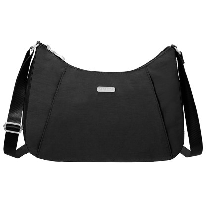 Baggallini Slim Crossbody Hobo Handbag Black Sand