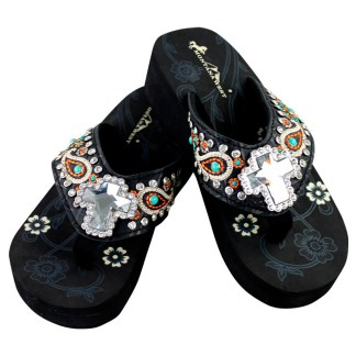 Montana West Flip Flop Sandals Hand Beaded Embroidered Bk Paisley Cross