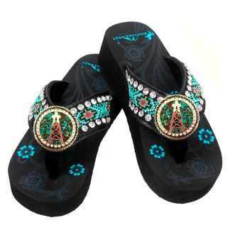 Montana West Flip Flop Sandals Hand Beaded Embroidered Bk Beaded OilDrk