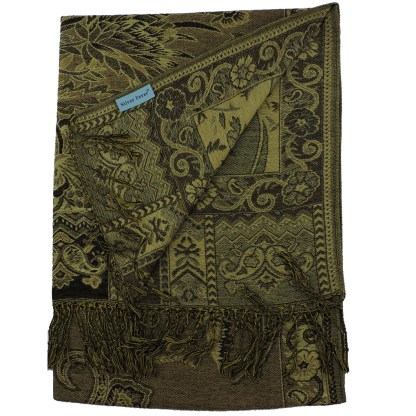 Silver Fever Pashmina - Jacquard Paisley Shawl - Stylish Scarf - Double Sided Wrap Green Floral
