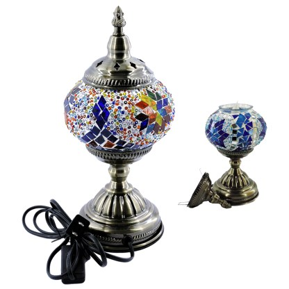 Silver Fever Handcrafted Mosaic Turkish Lamp Moroccan Glass Table Desk Bedside Light- Alladin Lattern 0