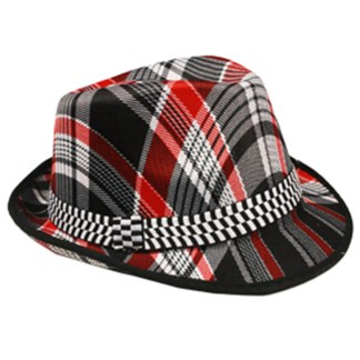 Silver Fever Thin Brimmed Woven Fedora Hat Red Plaid