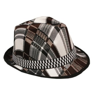 Silver Fever Thin Brimmed Woven Fedora Hat Grey Plaid