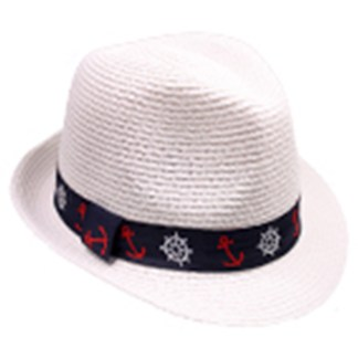 Silver Fever Stripped Panama Fedora Hat for Men or Women White Nautical