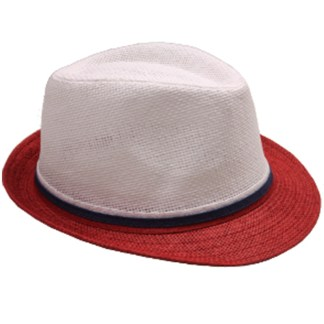 Silver Fever Thin Brimmed Woven Fedora Hat Red White Beige w stripe