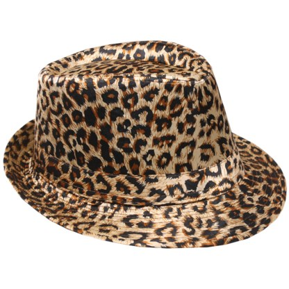 Silver Fever Patterned and Banded Fedora Hat Cheetah
