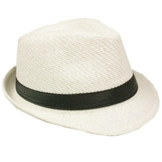 Silver Fever Stripped Panama Fedora Hat for Men or Women White black belt