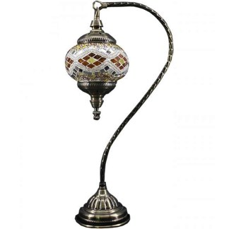 Silver Fever Handcrafted Mosaic Turkish Lamp Moroccan Glass Table Desk Bedside Light- Swan Neck Wave White