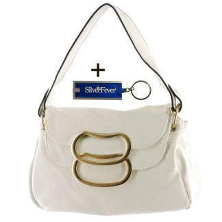 Silver Fever 3 Way Bag Hipster Small Satchel Tote Crossbody Indie Handbag White w Flip