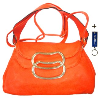 Silver Fever 3 Way Bag Hipster Small Satchel Tote Crossbody Indie Handbag ORANGE w Flip