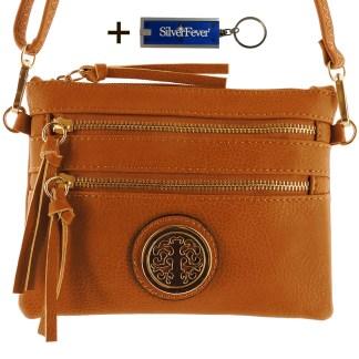 Silver Fever Crossbody Hipster Mini Indie Handbag Camel Wristlet Hndl