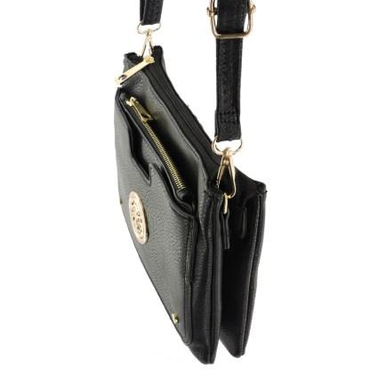 Silver Fever Crossbody Hipster Mini Indie Handbag Black w Pouch