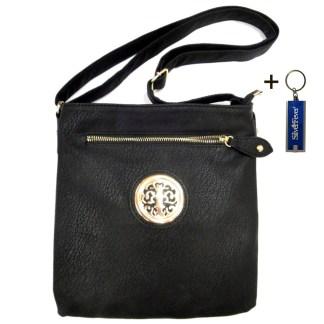 Silver Fever Fashion Crossbody Hipster Tote Indie Designed Handbag Black 3 Comp