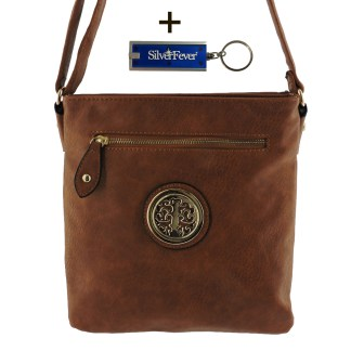 Silver Fever Fashion Crossbody Hipster Tote Indie Designed Handbag Camel 3 Comp