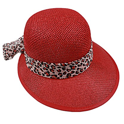 Silver Fever Women Summer Fancy Sun Hat Fits All Red with cheetah