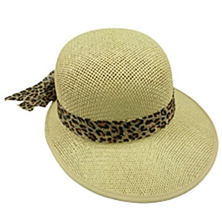Silver Fever Women Summer Fancy Sun Hat Fits All Mustard with cheetah