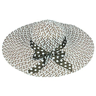 Silver Fever Women Summer Fancy Sun Hat Fits All Beige with polka dote