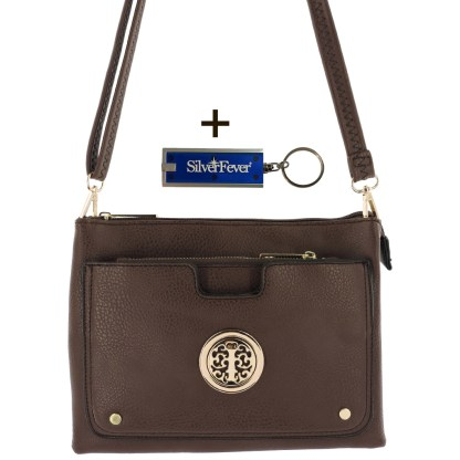 Silver Fever Crossbody Hipster Mini Indie Handbag Coffee w Pouch