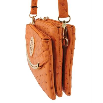 Silver Fever Crossbody Hipster Mini Indie Handbag Orange Ostrige