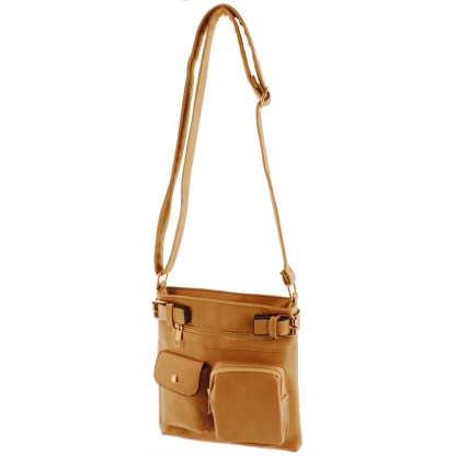 Silver Fever Fashion Crossbody Hipster Tote Indie Designed Handbag Camel 3 Pck