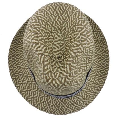 Silver Fever Thin Brimmed Woven Fedora Hat Tan Tan Beige w stripe