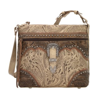 American West Leather Shoulder Handbag - Saddle Ridge -Sand
