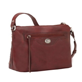 American West Leather Cross Body Handbag-Nomad Heart -Distressed Crimson