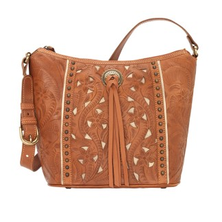 American West Leather Shoulder Handbag - Hill Country- Golden