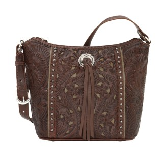American West Leather Shoulder Handbag - Hill Country- Brown