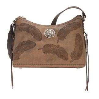 American West Leather Shoulder Handbag - Sacred Bird- Charcoal Brown
