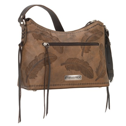 American West Leather Shoulder Handbag - Sacred Bird- Charcoal Brown