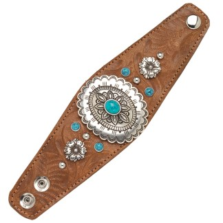 """American West Handmade Tooled Leather Cuff Bracelet 2.5"""", Turquoise Concho"""