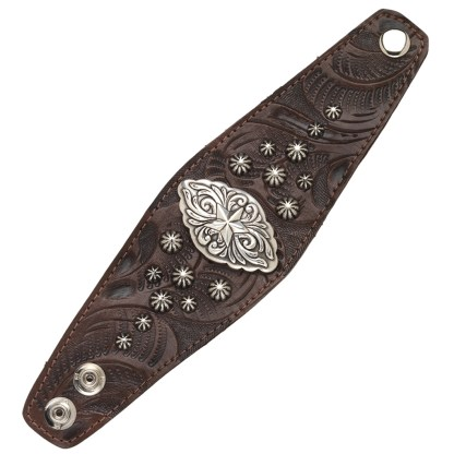 """American West Handmade Tooled Leather Cuff Bracelet 2.5"""", Star Concho"""