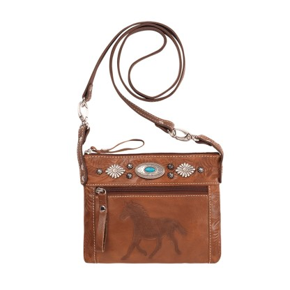 American West Leather Cross Body Handbag-Trail Rider -Antique Brown