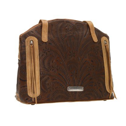 American West Leather Handbag- Half Moon Tote - Annie's Secret Consealed Carry - Brown 2T