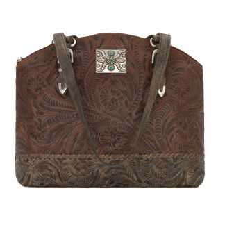 American West Leather Tote- Half Moon Tote - Annie's Secret Consealed Carry - Brown C-OutAmerican West Leather Handbag- Half Moon Tote - Annie's Secret Consealed Carry - Brown C-Out