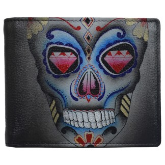 Anuschka Leather RFID Men's Two Fold Wallet with Insert  Calaveras de Azucar