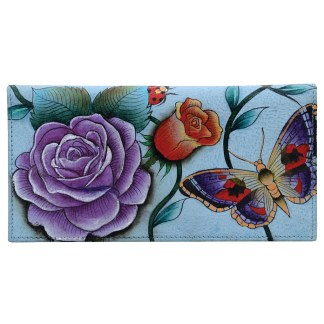 Anuschka Hand Painted Leather Check Book Holder ID Window  Roses D'amour