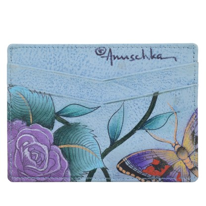 Anuschka Genuine Leather Credit Card Holder Hand Painted Roses D'amour