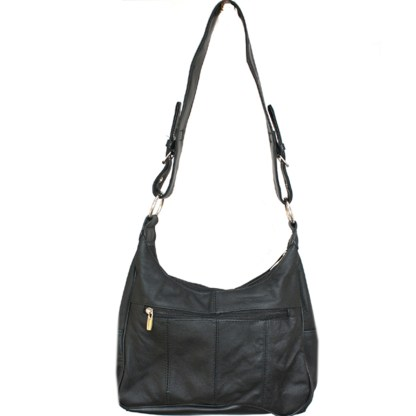 Silver Fever Medium Handbag - Soft Genuine Leather - Ladies Shoulder Daily Organizer Black with Buckle